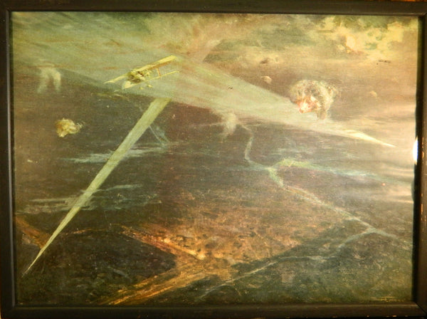 Original vintage WWI Print of Night Bombardment by Henri Farre - circa 1918