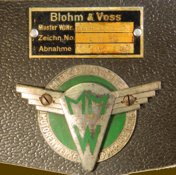 "WWII German Blohm & Voss BV 138 ""Sea Dragon"" Engine Data Plates"