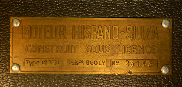 WWII French Hispano-Suiza Engine Data Plate