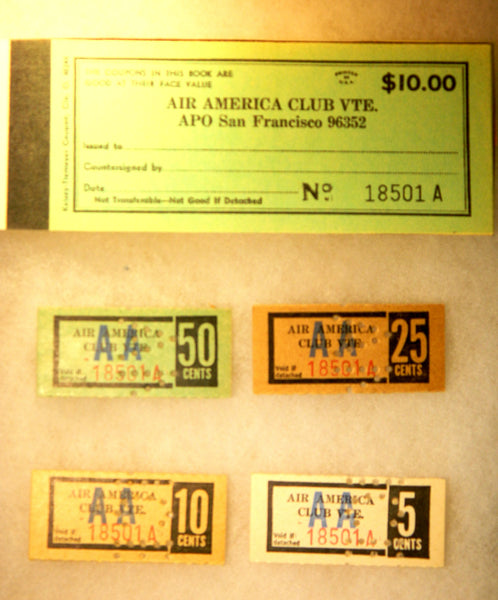 Rare Air America Club Bar Chits - circa 1967