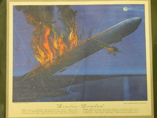 Hubbell Thompson Products Print of Zeppelin L-5 (?) Destruction