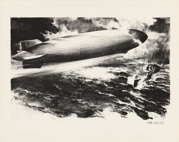 Clayton Knight Drawing, Airship Over Liner in Heavy Seas