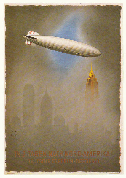 Modern Postcard of 1936 Hindenburg Travel Poster