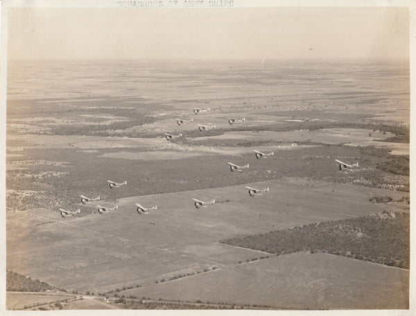 Squadron of U.S. Army Biplanes in Flight - circa 1930