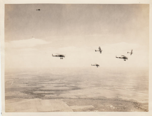 Flight of Air Corps Biplanes Setting Up For Landing - ca. late 1920s