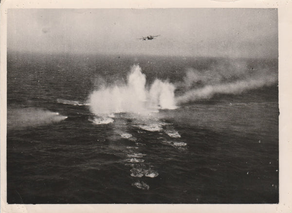 WWII RAF Official Press Photo - Sinking German U-Boats