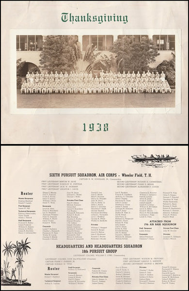 Wheeler Field Hawaii Thanksgiving Menu 6th Pursuit Sqdn - 1938