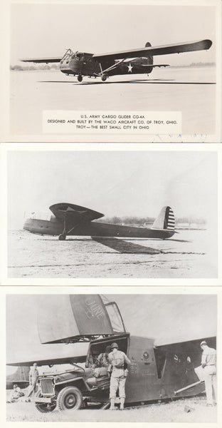 Four Photo Postcards of Army Gliders circa WWII