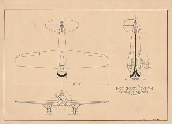 Original Pen & Ink 3-View of Lockheed Orion - 1933