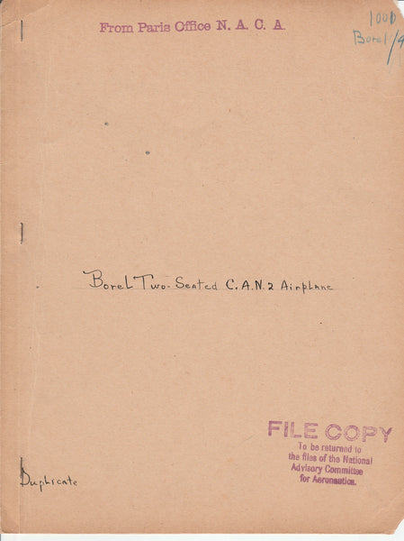 Paris N.A.C.A. Report on the Borel Two-Seated C.A.N.2 Metal Airplane - 1922