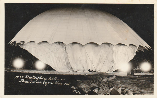 Real Photo Postcard Stratospheric Balloon - 1935