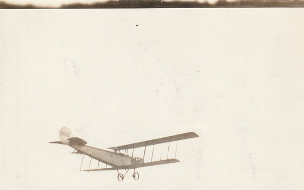 Real Photo Postcard of Early Jenny in Flight - circa 1917