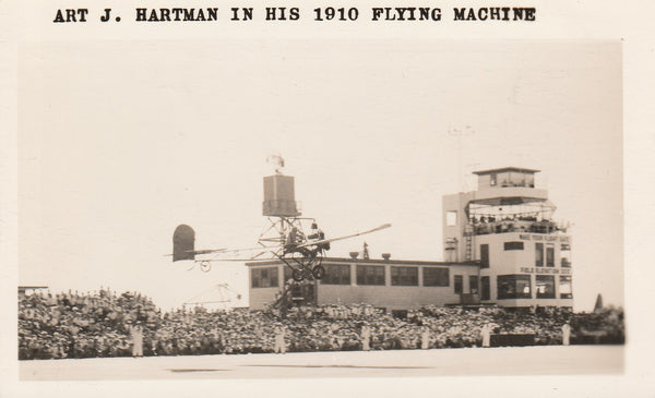 Photo of Hartman in his 1910 (?) Flying Machine - 1955