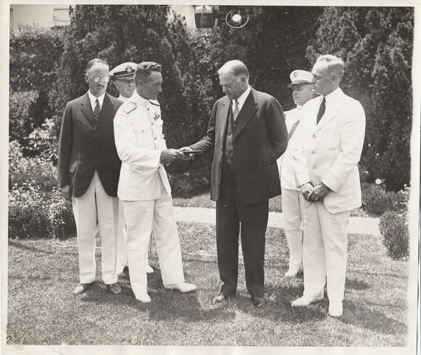 Press Photo, Admiral Byrd Receives Medal From President Hoover - 1930