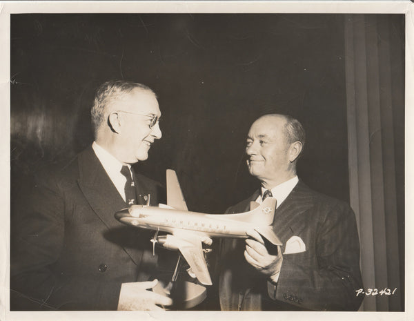 Press Photo, Glenn Martin Presents Model to Northwest Airlines President - 1950