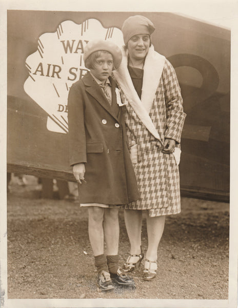 Press Photo, Woman and Daughter Arrive Boston on Ford Reliability Flight Tour - 1930