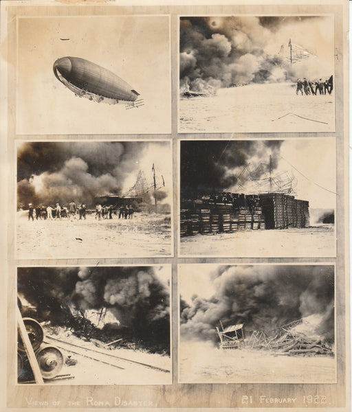 Collage of Photos of the Roma Airship Crash - 1922