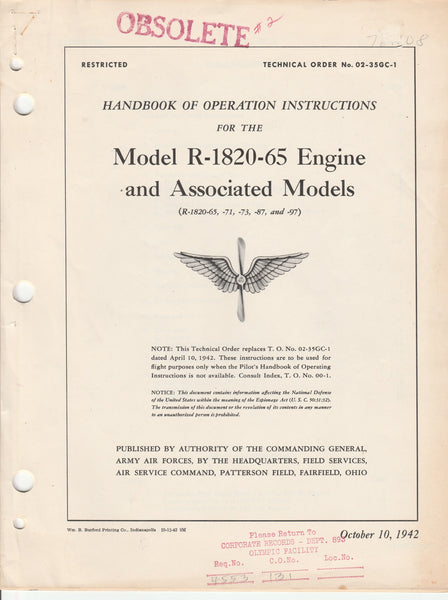 WWII Pilot Manual for R-1820 Engine - 1942