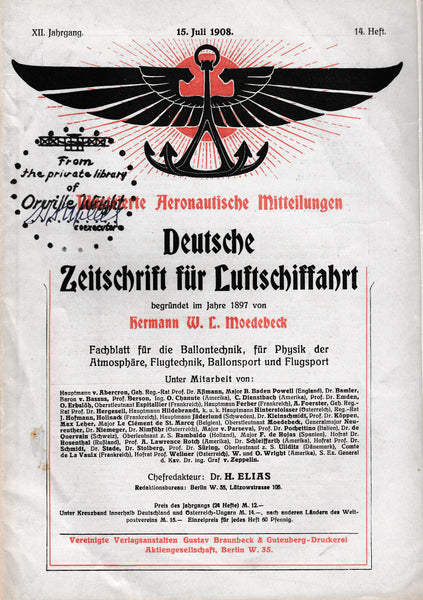 1908 German Aviation Magazine from Orville Wright's Library