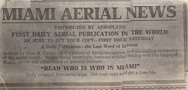 Photo of 1916 Flyer Advertising Miami Aerial News