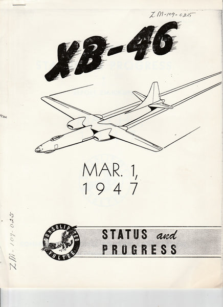 XB-46 Status and Progress Report - 1947