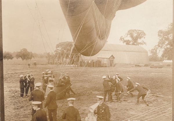 WWI British Royal Naval Air Service Observation Balloon Launch Press Photo- circa 1916