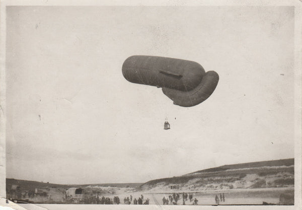 WWI French Press Photo of Observation Balloon at Somme Front - circa 1917