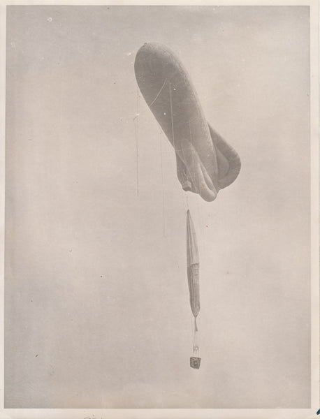 Photo of WWI Observation Balloon with Free Balloon Below