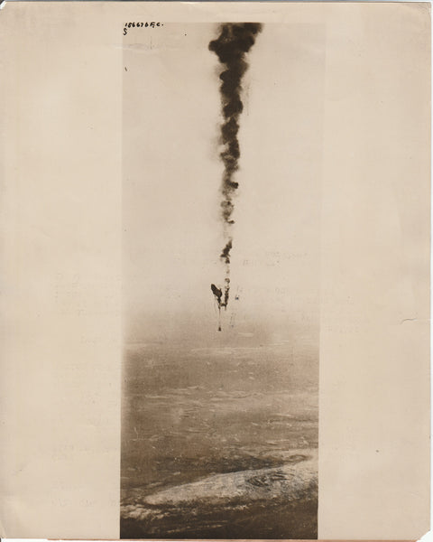 Wonderful WWI Press Photo of Flaming Observation Balloon - dated 1917