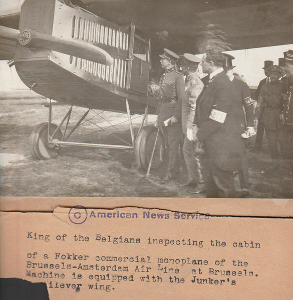 Press Photo, Belgian King Inspects KLM Fokker F.111 - circa 1919