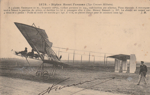 Postcard AUTOGRAPHED by Famous Early Aviator HENRI FARMAN - circa 1912