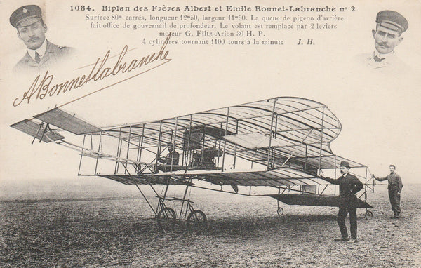 French Postcard AUTOGRAPHED by Pioneer Aviator Albert Bonnet-Labranche - circa 1909-11