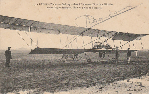 French Postcard AUTOGRAPHED by Pioneer Aviator Roger Sommer at Reims - 1909