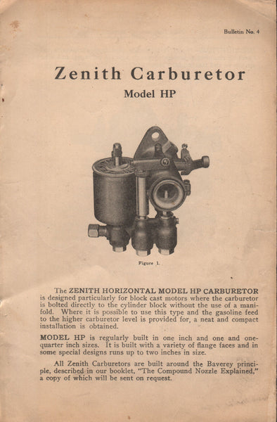 Zenith Model HP Carburetor Flyer, 1920