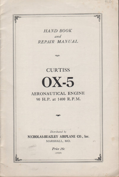 Curtiss OX-5 Handbook - facsimile reprint