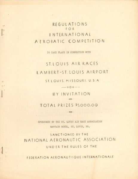 1937 Mimeo Regulations & Schedule - St. Louis Air Races