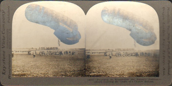 Stereo Card, Keystone 18077 - WWI Captive Balloon