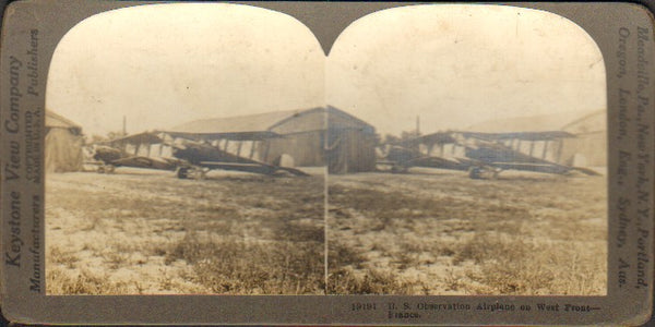 Stereo Card, Keystone 19191 - WWI Observation Planes