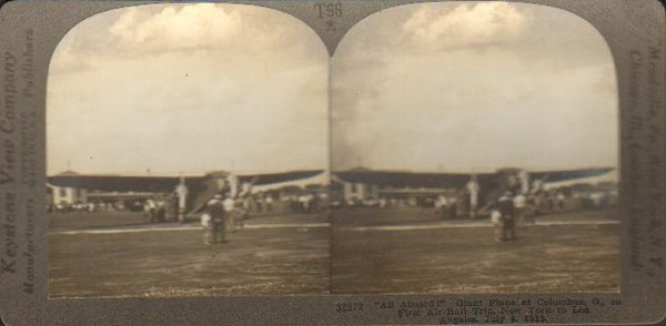 Stereo Card, Keystone T96 - Early Airline Flight in Ford Trimotor 1929