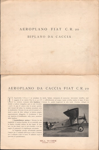 Fiat C.R. 20 Fighter Brochure - circa 1926
