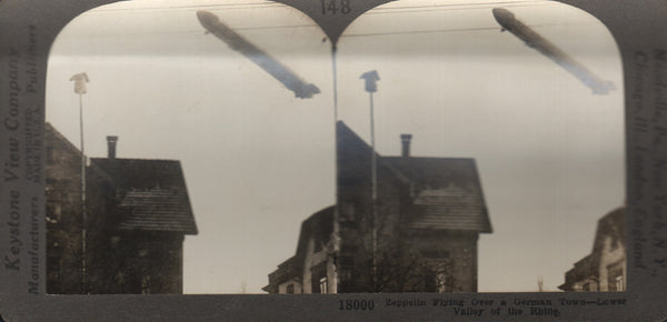 """Zeppelin Flying Over A German Town"" Stereoview"