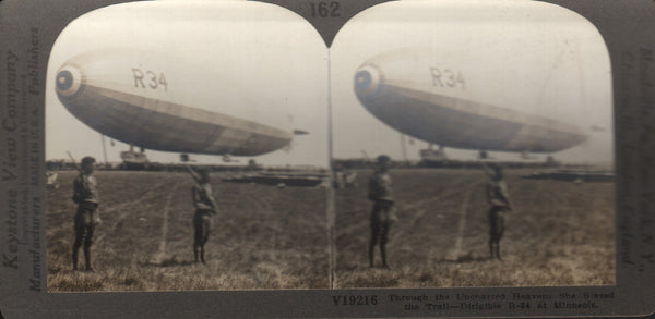"""R-34 at Minneola"" Airship Stereoview"