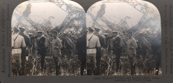 """Zeppelin Wrecked and Burned"" WWI Stereo Card"