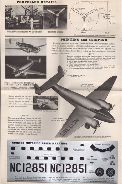 Lockheed Lodestar Model Plans - circa 1935