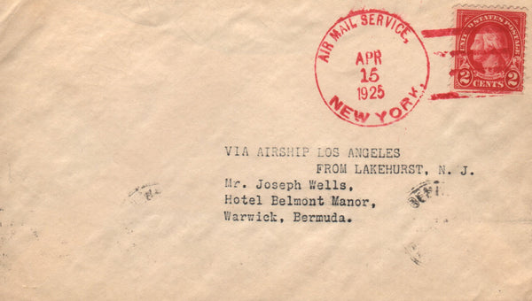 Akron Flown Cover, Lakehurst to Bermuda - 1925