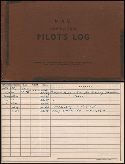 WWII Air Corps Pilot Training Log - Harrell Field, Camden, Arkansas - 1942