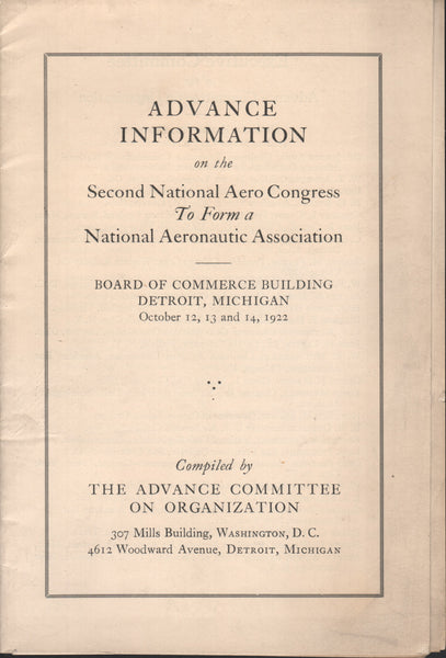 Advance Information....Formation of NAA - 1922