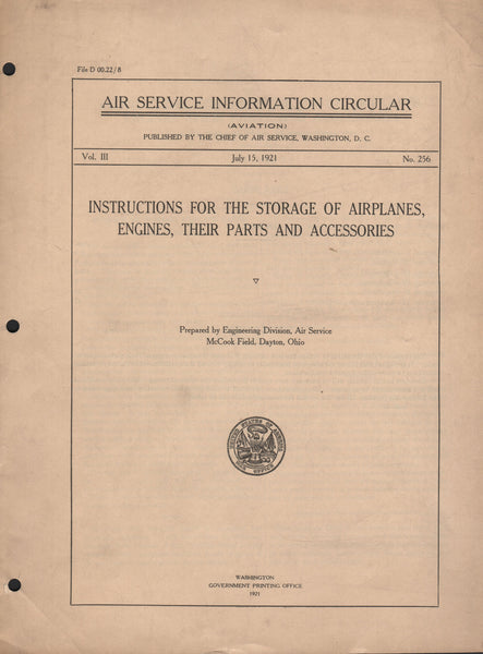 Instructions for the Storage of Airplanes, Engines, Their Parts and Accessories - 1921