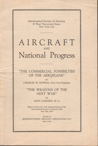 The Commercial Possibilities of the Aeroplane/The Weapons of the Next War - 1919