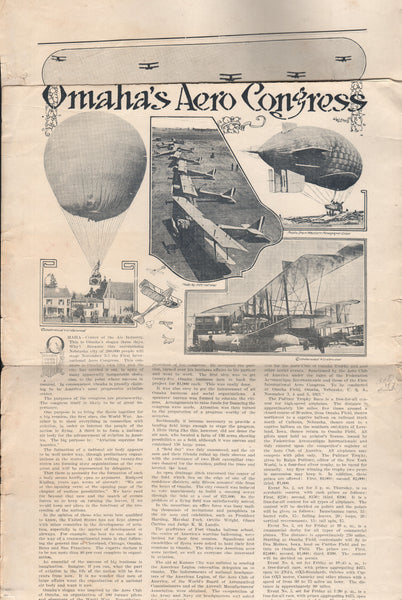 Omaha Aero Congress Broadside - 1921